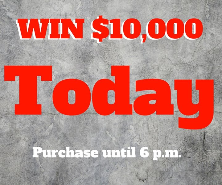 HURRY! Today is the day!  Get your ticket now to win $5,000 or $10,000 in CASH.   Call (605) 642-2626 or stop on by 106 W Jackson Blvd.   Drawing at 6:15 p.m. tonight at the large shelter in the Spearfish City Park.   Only $50 a ticket!  LIMITED TICKETS SOLD. NEED NOT BE PRESENT TO WIN.