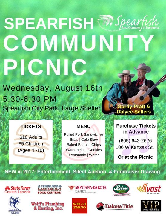 "See you at 5:30 p.m. TOMORROW! Get your WIN CASH TICKETS HERE --> spearfishchamber.org or call (605) 642-2626.  Remember NEW at the Community Picnic is our WIN $5,000 or $10,000 Fundraiser Drawing, Silent Auction, and LIVE MUSIC with Gordy Pratt - The ""original"" Fabulous One Guy and Dalyce Sellers."