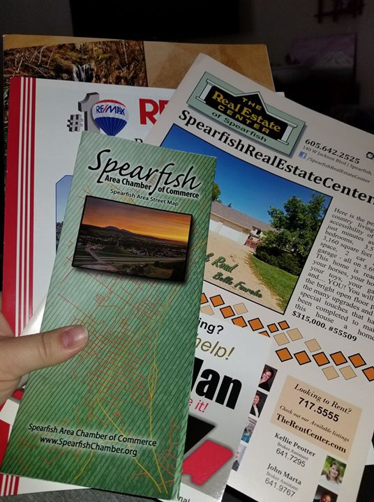 Just want to say thank you from the Pacific Northwest  to the Spearfish Chamber of Commerce for the wonderful packet:-)