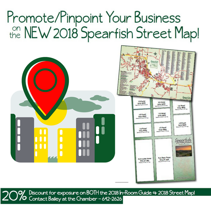 If you want to leave an impression with visitors, residents, or relocation prospects, the official Spearfish Street Map is it. With 10,000 distributions each year, the map is where it is at.